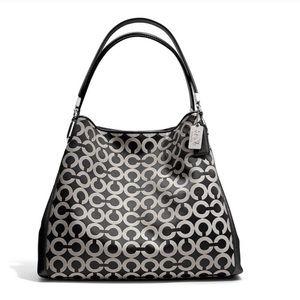 Coach Madison Phoebe bag in OP art sateen B & W